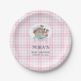 Noah's Ark Animals Pink Gingham 7 Inch Paper Plate