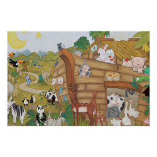 Noahs Ark Art Poster Mural for Baby Nursery