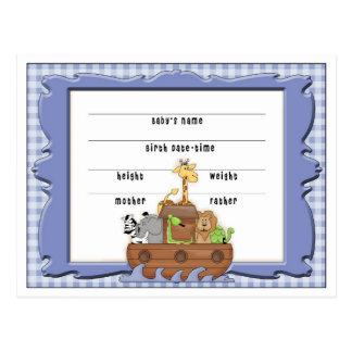 Noahs Ark Baby Announcement post cards