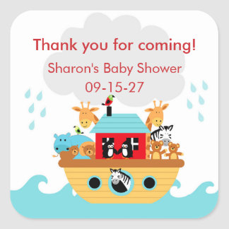 Noah's Ark Baby Shower thank you favor sticker