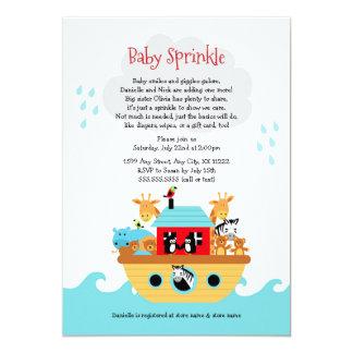 Noah's Ark Baby sprinkle invite, baby shower Card