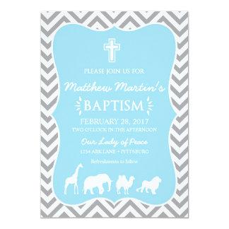 Noah's Ark Baptism Invitation Blue Gray Chevron