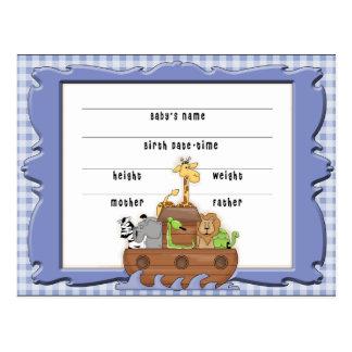 Noah's Ark Boy Birth Certificate Postcard
