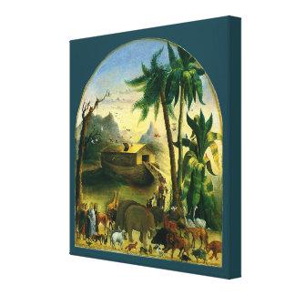 Noah's Ark by Hidley, Vintage Victorian Folk Art Gallery Wrap Canvas