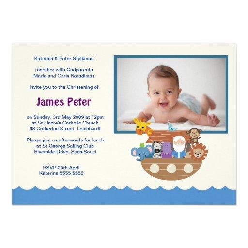 Noah's Ark Christening Invitations