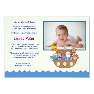Noah's Ark Christening Invitations