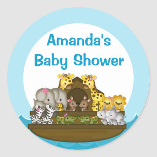 Noah's Ark Circle Label Round Sticker