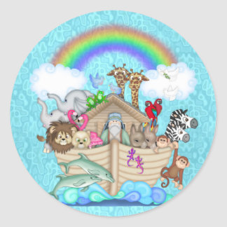 NOAHS ARK CUPCAKE TOPPER FOR BABY  SHOWER CLASSIC ROUND STICKER
