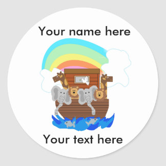 Noah's Ark Customizable Classic Round Sticker