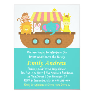 Noah's Ark, Cute Animals, Baby Shower Card