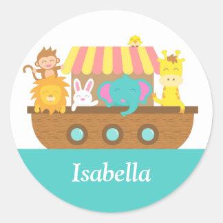 Noah's Ark, Cute Animals on Vessel Classic Round Sticker