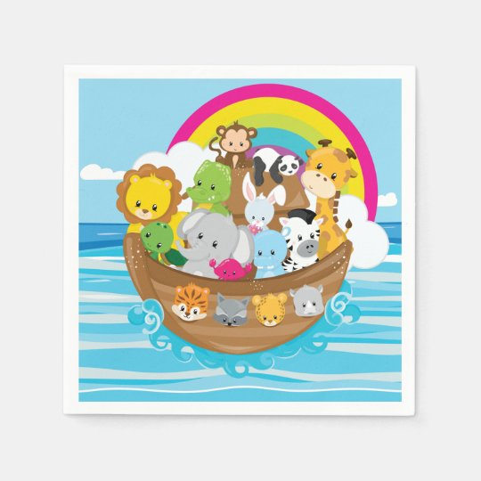 Noahs Ark Cute Animals Toddlers Fun Design Disposable Serviettes