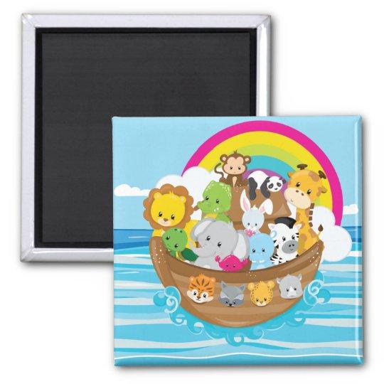 Noahs Ark Cute Animals Toddlers Fun Design Magnet