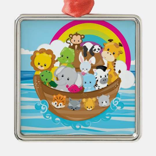 Noahs Ark Cute Animals Toddlers Fun Design Silver-Colored Square Decoration