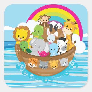 Noahs Ark Cute Animals Toddlers Fun Design Square Sticker