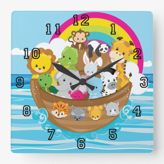 Noahs Ark Cute Animals Toddlers Fun Design Square Wall Clock