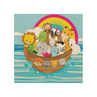 Noahs Ark Cute Animals Toddlers Fun Design Wood Print