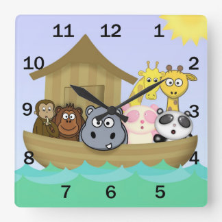 Noah's Ark Cute Cartoon Animals Bible Story Clock