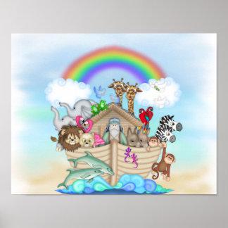 NOAHS ARK Rainbow NURSERY DECORATION MURAL Poster