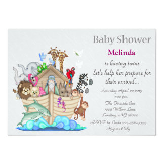 Noah's Ark Twins Baby Shower 13 Cm X 18 Cm Invitation Card