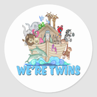 Noah's Ark We're Twins Round Stickers