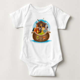 Noah's Ark With Jungle Animals Baby Bodysuit