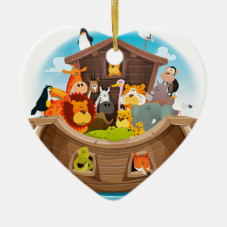 Noah's Ark With Jungle Animals Ceramic Heart Decoration