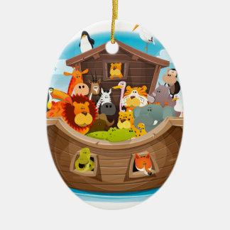 Noah's Ark With Jungle Animals Ceramic Oval Decoration