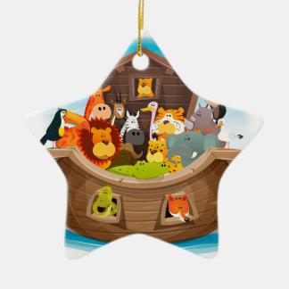 Noah's Ark With Jungle Animals Ceramic Star Decoration