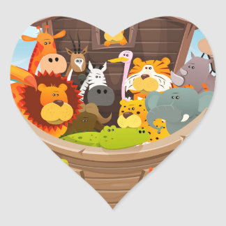 Noah's Ark With Jungle Animals Heart Sticker