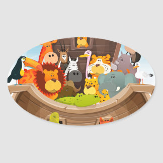 Noah's Ark With Jungle Animals Oval Sticker