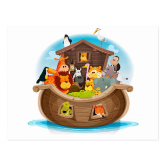 Noah's Ark With Jungle Animals Postcard