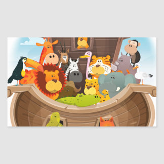 Noah's Ark With Jungle Animals Rectangular Sticker