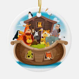 Noah's Ark With Jungle Animals Round Ceramic Decoration