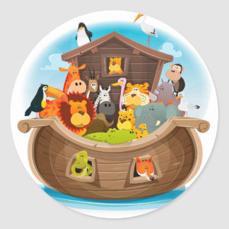 Noah's Ark With Jungle Animals Round Sticker