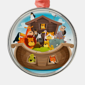 Noah's Ark With Jungle Animals Silver-Colored Round Decoration