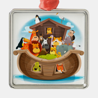 Noah's Ark With Jungle Animals Silver-Colored Square Decoration