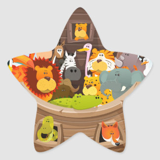 Noah's Ark With Jungle Animals Star Sticker