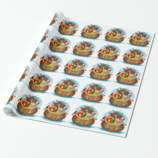 Noah's Ark With Jungle Animals Wrapping Paper
