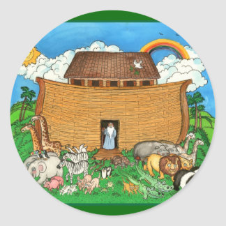 Noah's Ark with Rainbow Classic Round Sticker