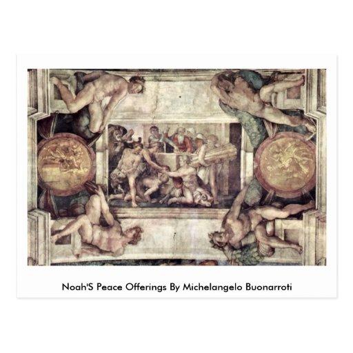 Noah'S Peace Offerings By Michelangelo Buonarroti Post Cards