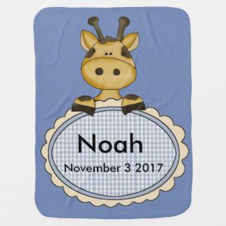 Noah's Personalized Giraffe Baby Blanket
