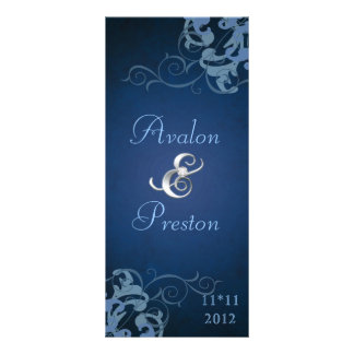 Nobel Blue Scroll Blue Wedding Program Rack Card Design