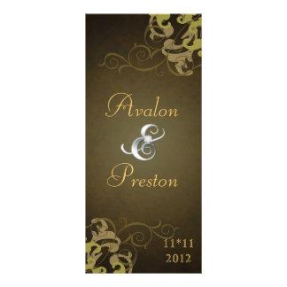 Nobel Gold Scroll Brown Wedding Program Customized Rack Card