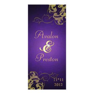 Nobel Gold Scroll Purple Wedding Program Rack Card