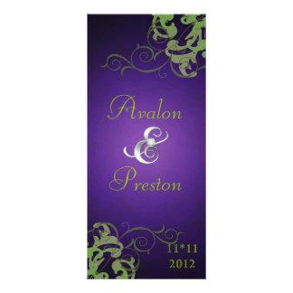 Nobel Lime Scroll Purple Wedding Program 10 Cm X 23 Cm Rack Card