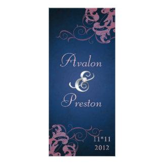 Nobel Pink Scroll Blue Wedding Program Personalised Rack Card