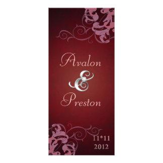 Nobel Pink Scroll Red Wedding Program Rack Card Template