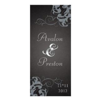 Nobel Silver Scroll Black Wedding Program Personalized Rack Card