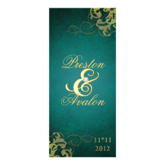 Nobel Teal Scroll Gold  Wedding Program Custom Rack Card